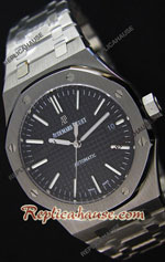 Audemars Piguet Royal Oak Black Dial Steel Strap Swiss Watch 26