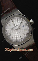 Audemars Piguet Royal Oak Silver Dial Leather Strap Swiss Watch 24