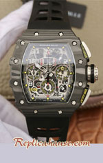 Richard Mille RM011-03 One Piece Black Forged Carbon Case Swiss Replica Watch 09