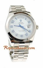 Rolex Replica Day Date II Silver Swiss Watch - 41MM 02