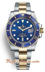 Rolex Submariner Two Tone Blue Dial Swiss 2018 Edition Replica Watch 1