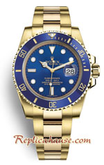 Rolex Submariner Gold Blue Dial - Swiss Replica Watch 2